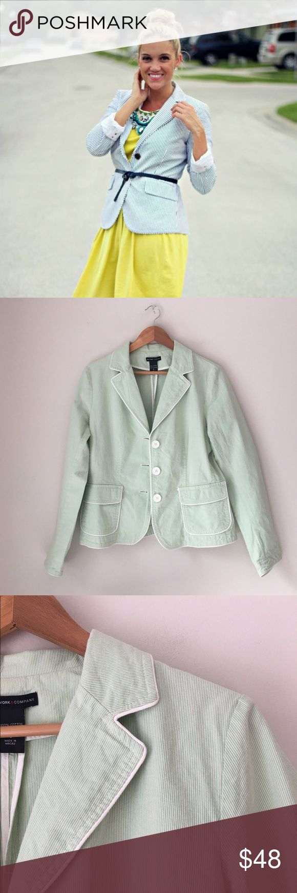 New York & Company Green Seersucker Blazer Beautiful green Seersucker blazer in cotton by New York & Company. Size 8. EUC. New York & Company Jackets & Coats Blazers