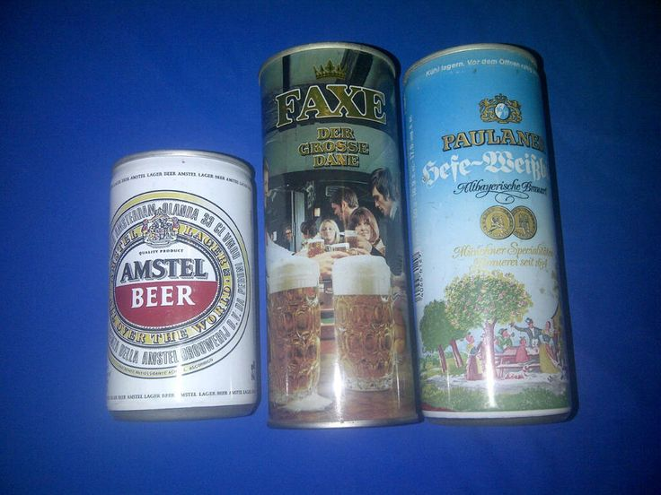 Europe Royal 3 Can Lot STEEL - Amstel Paulaner Here-Weifbier Faxe Lager Bier