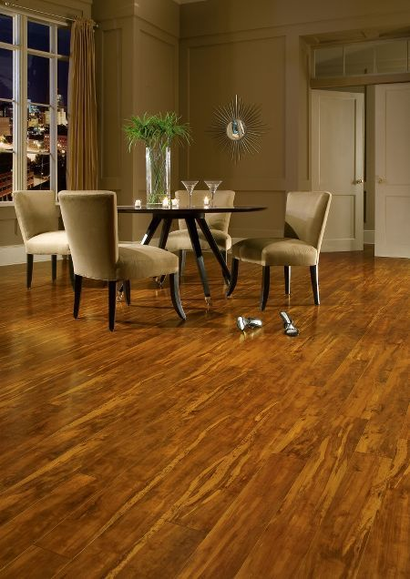 Warm, with a sophisticated touch, this Honey Butter handscraped hardwood by  Armstrong is the perfect foundation for any room!