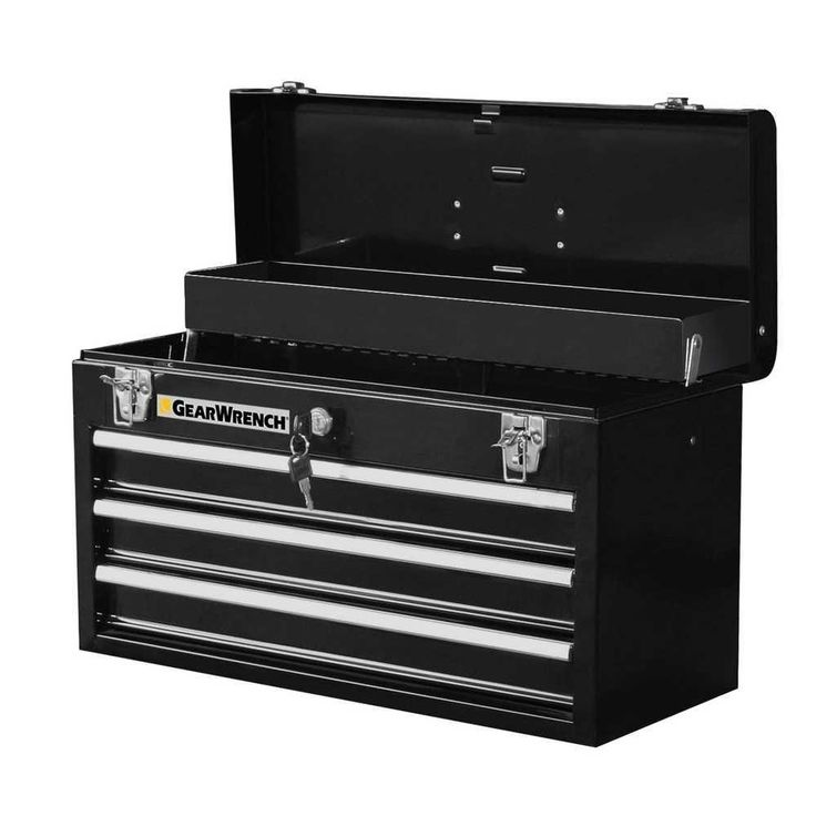 GearWrench 20 in. 3-Drawer Steel Tool Box, Black, Black/Silver Powder Coat Finish