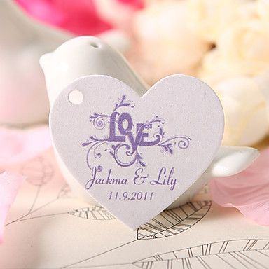 Personalized Heart Shaped Favor Tag - Purple Love (Set of 60) – USD $ 19.99