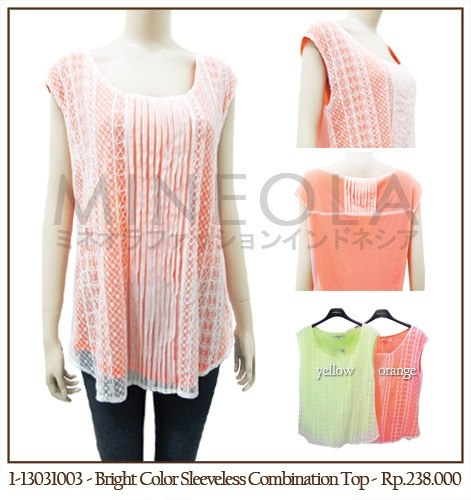 #MINEOLA Bright Color Sleeveless Combnation Top Orange. Also available in yellow olor. Get this stylish top for only Rp.238.000,-   Fabrics: polyester Product code: 1-13031003 [Size S/M] Bust: 88cm - Length: 61cm... [Size L/XL] Bust: 92cm - Length: 64cm