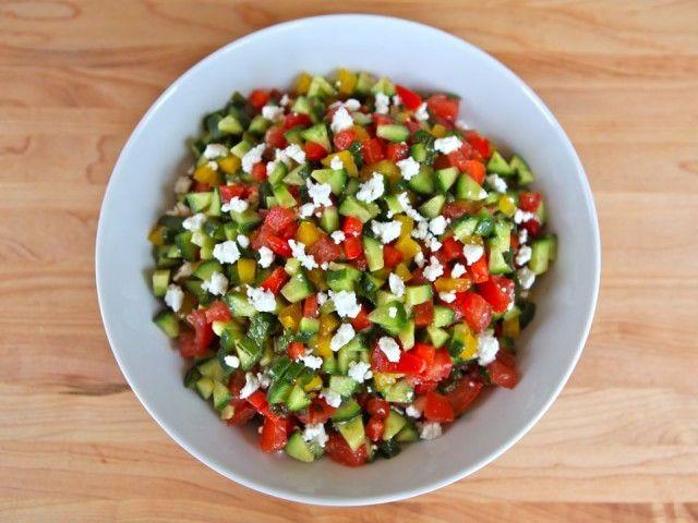 israeli salad with feta and mint israeli salad israeli food israeli ...