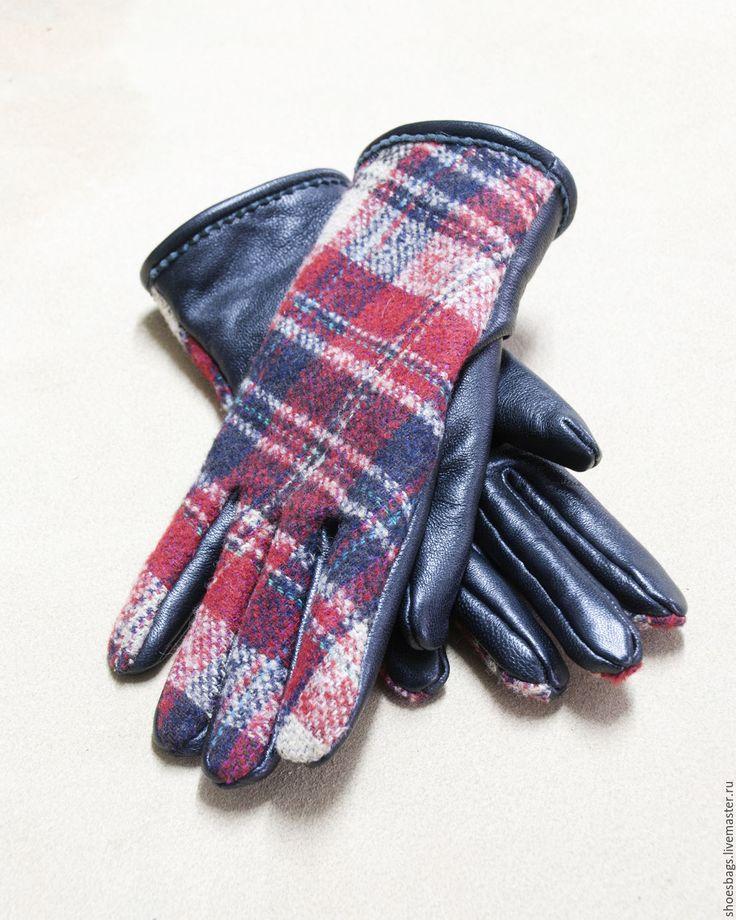 Купить Перчатки - комбинированный, в клеточку, перчатки, перчатки женские, перчатки демисезонные, перчатки кожаные