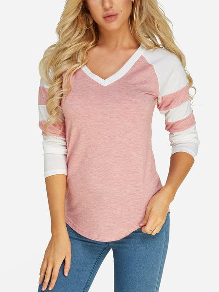 bb343e4a8c69 Pink V-neck Long Sleeves T-shirts - US$10.95 in 2019 | Shirts ...