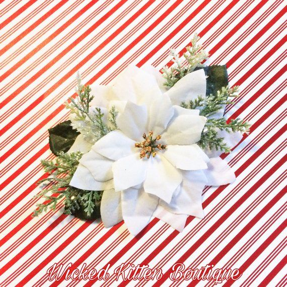Poinsettia Hair Flower Pinup Rockabilly Christmas Holiday Fascinator Floral Headpiece 1950 Flowers In Hair Floral Headpiece Christmas Hair Accessories