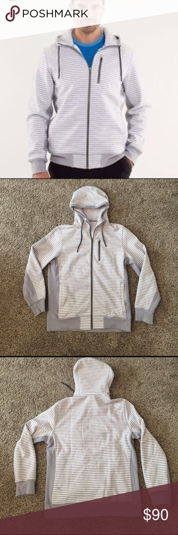 Lululemon men's sequence hoodie Grey and white stripes with solid grey ribbing on sides, arm sides and bottom. Medium weight, fleece inside. Pockets on front  and zippered pocket on chest. Hood with drawstring. Excellent condition lululemon athletica Shirts Sweatshirts & Hoodies