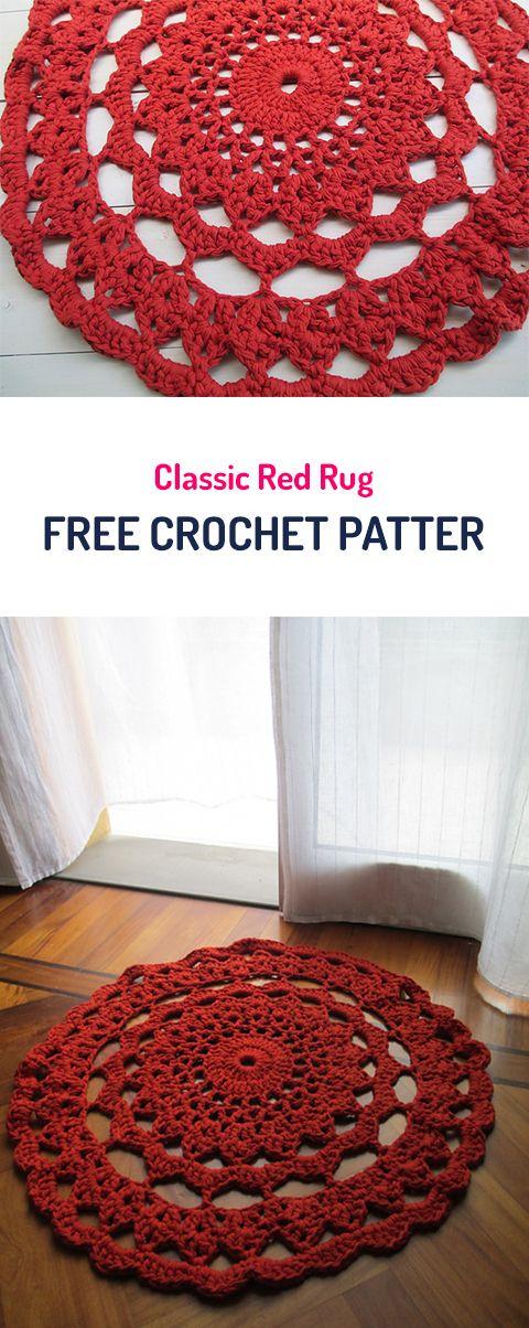 Classic Red Rug Free Crochet Pattern #crochet #homedecor #diy #crafts #style