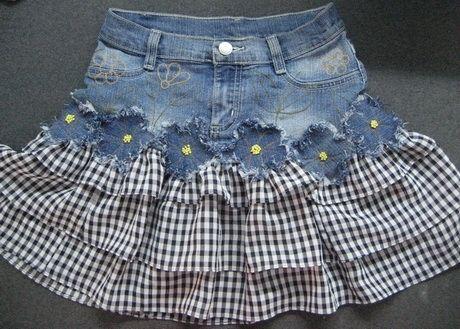 jeans+ skirt