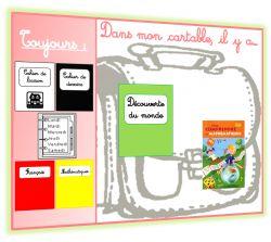 Affichage des livres et cahiers à mettre dans le cartable pour ne rien oublier à l'école.