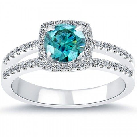 1.30 Carat Fancy Blue Diamond Engagement Ring 14k White Gold Pave Halo - Blue Diamond Rings - Color Rings
