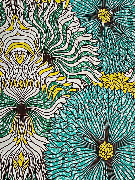 wax africain motif fleure bleu vert 100%coton: