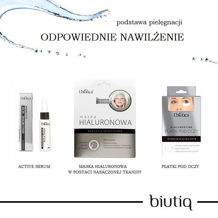 kwas hialuronowy - zapewni odpowiednie nawilżenie cery. kosmetyki L'biotica to doskonałe rozwiązanie dla cery, potrzebującej nawilżenia.