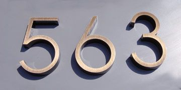 """WestOnLetters.com -- House Numbers -  6"""" Ribbon in oxidized bronze"""