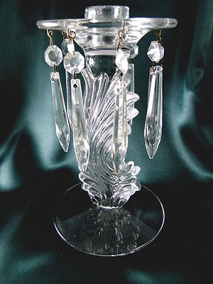 Fostoria baroque lustre 2484 candle holder prisms bobeches for Clear baroque glass