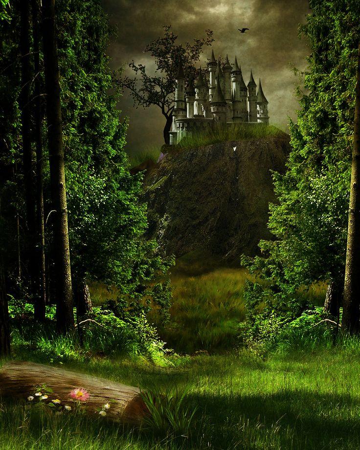 Картинка дремучего леса с замком