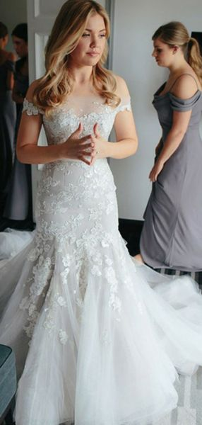 Charming Sheath Off Shoulder Tulle Sweep Train Wedding Dresses With Appliques,FPWD043