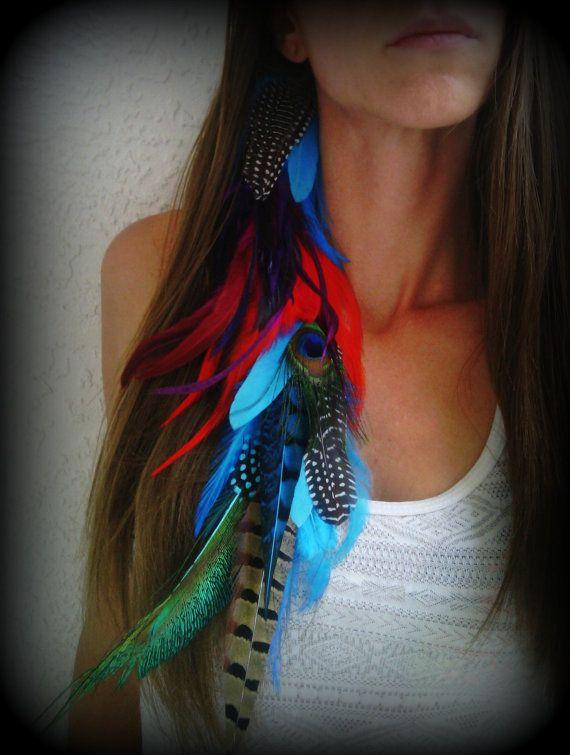 Long, plumes, cheveux, Extension, coiffure, Bohème, Native, Nature, clip, paon, brillant, coloré, gros, plein, supplémentaire, bleu, rouge, violet