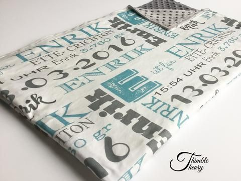 """""""Birth Stats""""- Personalized Double Sided Minky Blanket"""