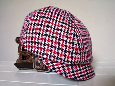 Funky Red and black houndstooth handmade newsboy hat.  $35.  Custom orders for age NB up to 10years.  Matching suspenders available instore