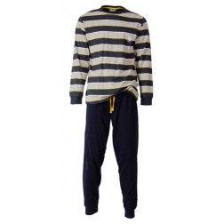 Statige en brede lichtgrijze en donkere strepen opgefrist met witte en goudgele lijntjes bij heren pyjama met bijna zwarte broek