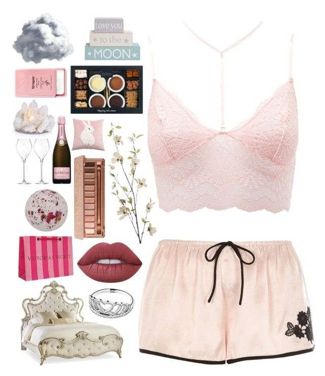 """""""💗Pink Valentine💗"""" by pockynoodles ❤ liked on Polyvore featuring Charlotte Russe, River Island, Victoria's Secret, Lime Crime, Urban Decay, Pandora, Pier 1 Imports, Hooker Furniture and Belle Maison"""
