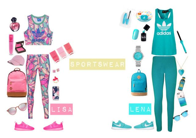"""lisa and lena outfit#4"" by basinillomarie on Polyvore featuring adidas Originals, NIKE, Mi-Pac, Dimepiece, Kate Spade, Ray-Ban, Jeffree Star, Christian Dior, Jouer and Nails Inc."