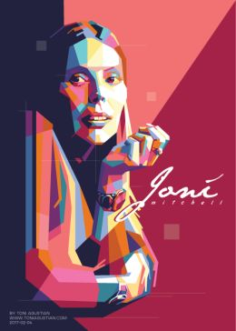 Joni Mitchell in colorful polygonal pop-art vector by Toni Agustian. Made in Corel Draw & Adobe Illustrator in 2017-02-04.