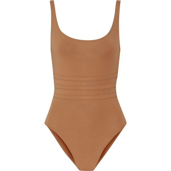 Eres Les Essentiels Asia swimsuit (4.575 ARS) ❤ liked on Polyvore featuring swimwear, one-piece swimsuits, swimsuit, tops, bodysuit, body, camel, bathing suit swimwear, swimming costumes and swim suits