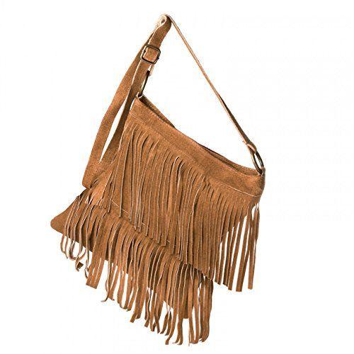CASPAR Damen Wildleder Tasche   Umhängetasche mit Fransen   Ledertasche   MADE IN ITALY - viele Farben - TL691, Farbe:cognac