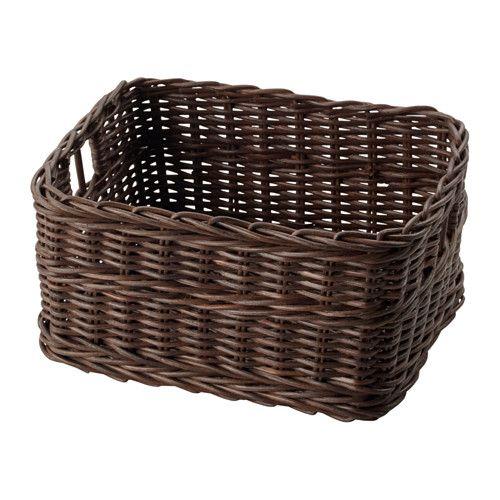IKEA - GABBIG, Cestino, Una pratica soluzione per riporre fogli di carta, penne e altri piccoli oggetti.Il cestino è utilizzabile anche negli ambienti umidi, ad esempio in bagno.Il cestino è unico poiché è intrecciato a mano.Il contenitore è facile da estrarre e sollevare grazie ai manici.