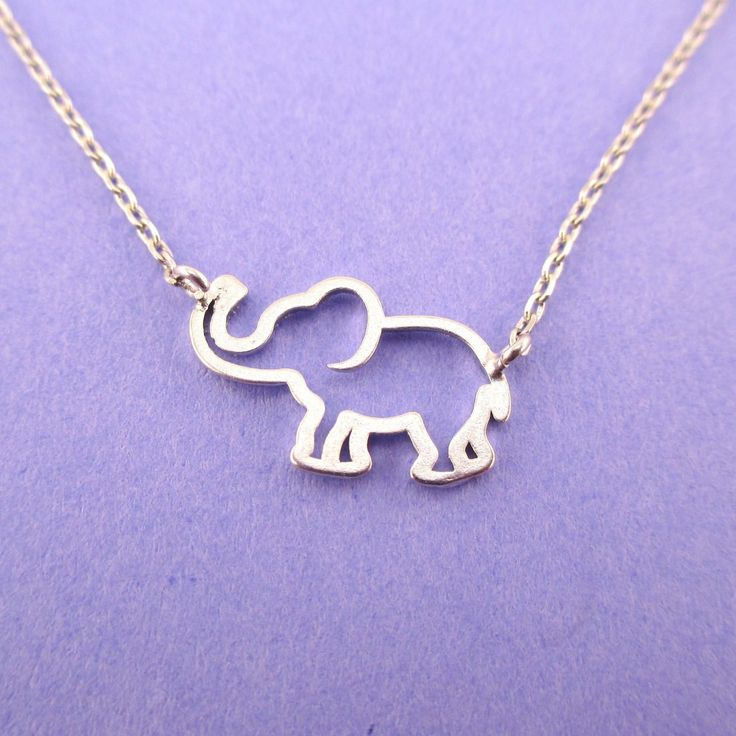 Minimal Baby Elephant Outline Shaped Pendant Necklace in Silver   Animal Jewelry