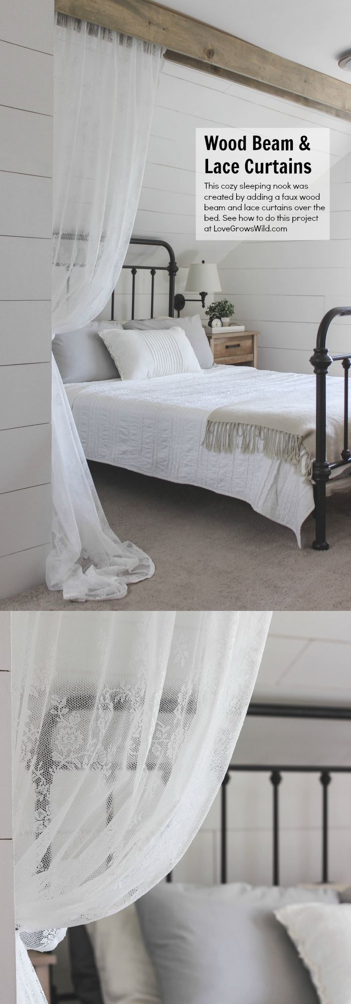 80 quot x72 quot shabby rustic chic burlap shower curtain ivory lace ruffles - This Cozy Sleeping Nook Was Created By Adding A Faux Wood Beam And Lace Curtains Over