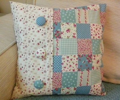 "*HANDMADE* BLUE DITSY FLORAL PATCHWORK SHABBY CHIC CUSHION COVER 14""X14"""