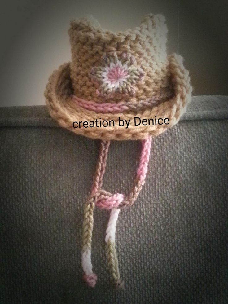 Loom Knit Cowboy Hat with quick knit flower for baby. Will have to try to resize to make for an adult