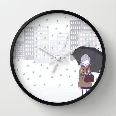 Girl+in+the+rain+Wall+Clock+by+radis+-+$30.00