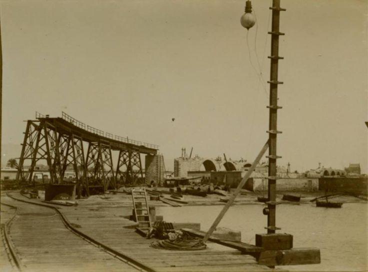 El Cable Inglés (Almería) durante su construcción en 1902.