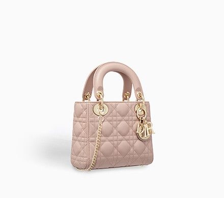 Mini lady dior bag in pink lambskin with chain - Dior