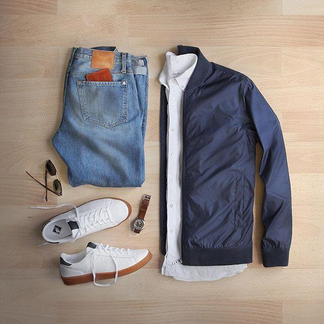 Linen shirt and light layers ☀️ #summertimeshine  Shirt: @hamiltonshirts Linen Jacket: @norseprojects Ryan Light Ripstop Bomber Shoes: @newbalance for @jcrew Wallet/Watch: @miansai Denim: @baldwin Sunglasses: @rayban