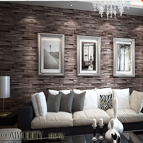 17 best behang images on pinterest for Brick wallpaper living room ideas