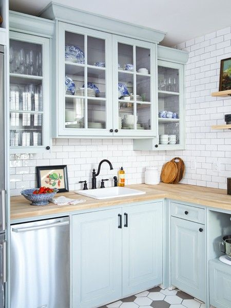 Photo gallery affordable home reno tips kitchen for Blue and white kitchen cabinets