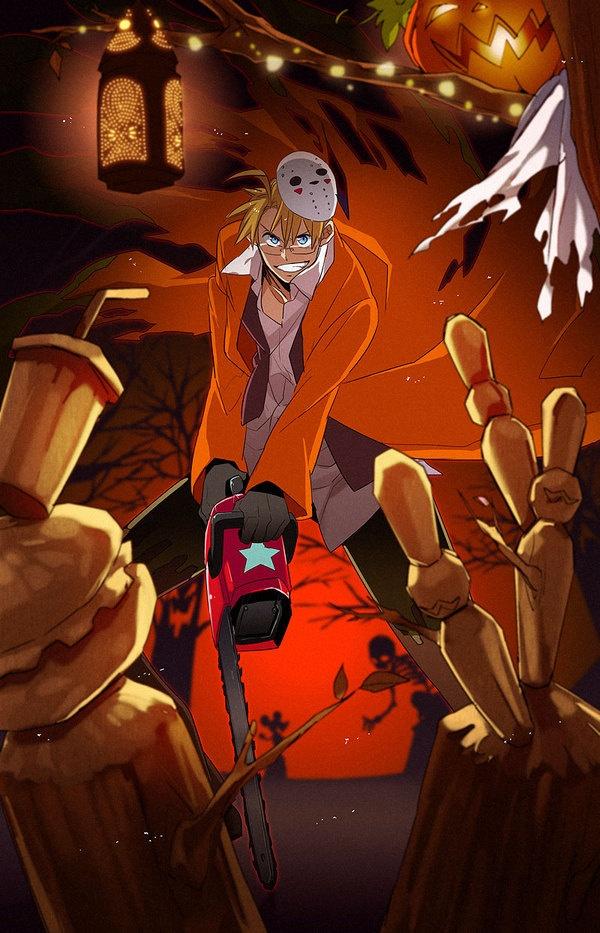 Hetalia's America letting loose his inner psycho on Halloween. Based on original art by Himaruya.
