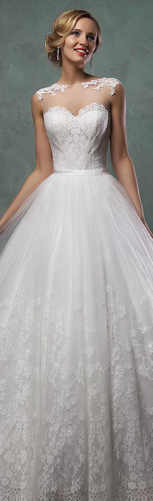 amelia sposa 2016 wedding dresses stunning cap sheer bateau neckline scallop sweetheart tulle ball gown a line dress valery #ballgown #weddingdresses #ameliasposa