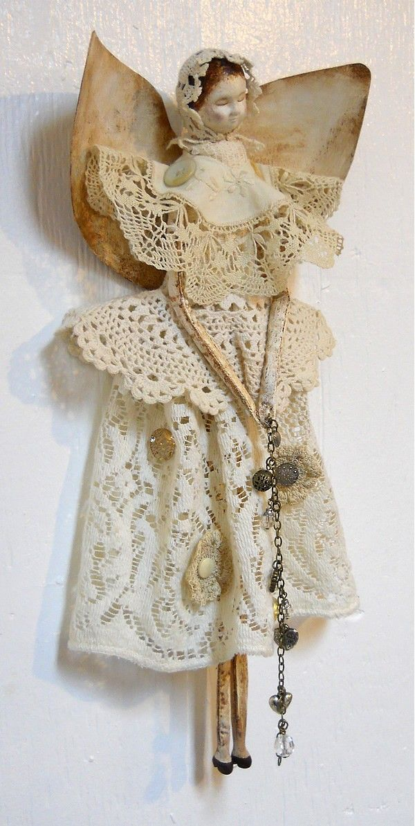 20 off Sale Angel Art Doll Handmade of Paper Clay от PapernLace