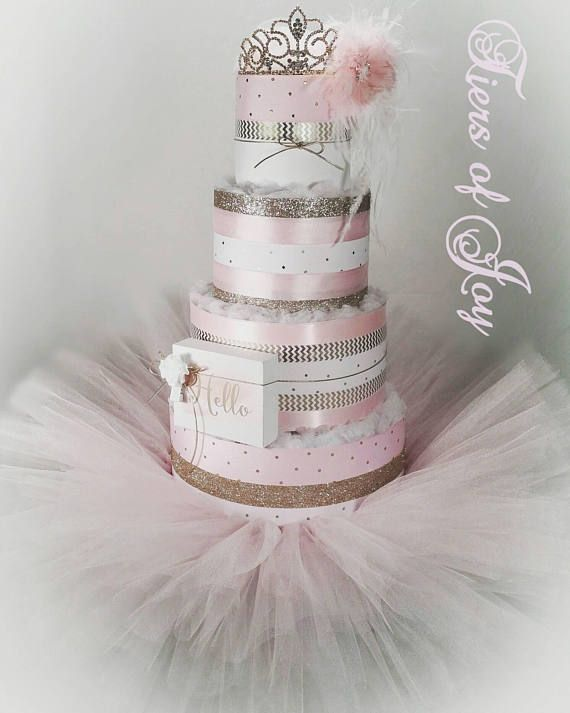 4 Tier Pink Princess DIAPER CAKE w/silver tiara  pink tutu