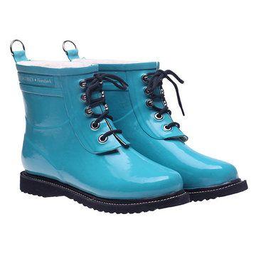 Lace Up Rainboot Short Turquoise