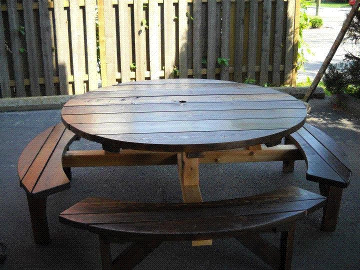 Picnic tables Toenail two sides with wood screws to the table top until the spokes A delightful Free woodworking plans problem finding the