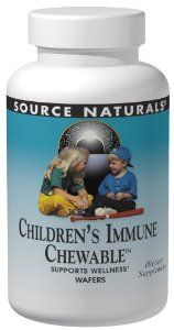 Source Naturals Childrens Immune, 120 Chewable Wafers by Source Naturals. $17.27. Combining herbs, nutrients, nutraceuticals in one formulation.; Source Naturals Bio-Aligned Formulas are formulations with potent bio-active nutrients that go deep to the root causes of health imbalances and become powerful tools for vibrant health and well being.; Naturopathic Medicine. Wellness Children's Immune Chewable(TM) is a powerful cold weather blend, designed to support children's imm...