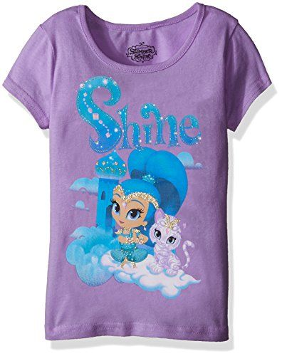 Nickelodeon Girls' Little Girls' Shimmer and Shine Graphic T-Shirt  Official Nickelodeon license  Lilac doll pink tropical purple  Great for back to school