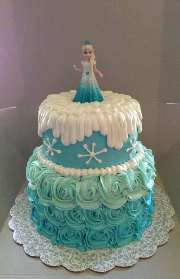 cute blue ombre frozen cake of elsa for 2014 halloween flower snowflake f11538 - Frozen Halloween Decorations